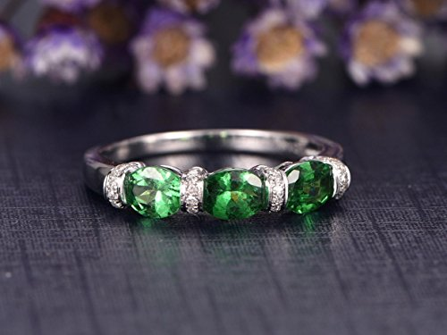 4x5mm Oval Cut Natural Green Tsavorite Solid 14k White Gold Diamond Wedding Band Stacking Engagement Ring Women Men Anniversary Gift Promise Bridal Set