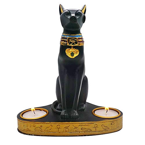 - Moylor Ancient Egypt Bastet Cat Goddess Statue with 2 Tea Light Candle Holders (7.5