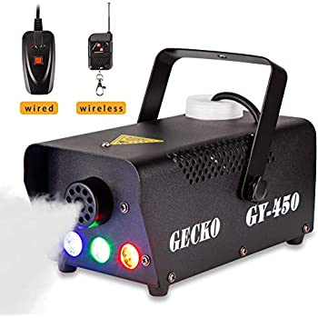 Fog Machine,GECKO Smoke Machine hood portable LED light with wired and wireless remote control, fast heating, suitable for parties, Christmas, Halloween and ...