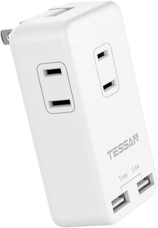 USBコンセント タップ 3AC口 2USBポート付き TESSAN usb acアダプター タコ足コンセント 分岐 マルチ電源タップ 小型 海外旅行 オフィス 自宅に最適 トリプルタップ