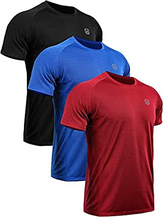 Neleus Men's 3 Pack Mesh Athletic Fitness Workout Shirts,5033,Black,Red,Blue,S,EU M