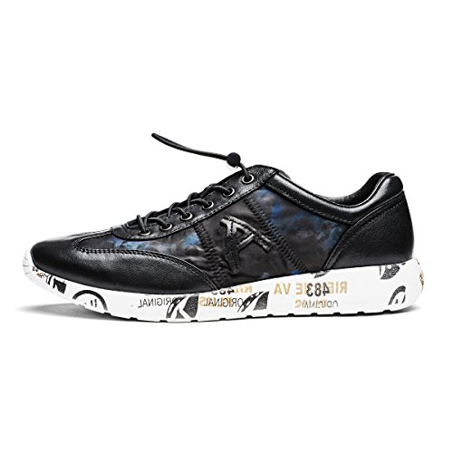Aide Baou Hombres Low-top Athleisure Zapatos Casuales Dos Tonos De Piel De Oveja Elástico Con Cordones Y Slip-on Moda Sneaker Negro / Azul Marino