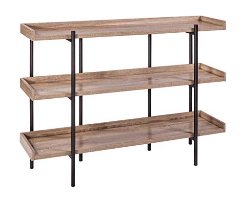 (OneSpace 50-JN173SHLFWN Modern Wood and Steel 3 Display Shelf, Walnut)