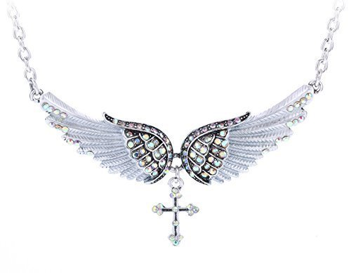 YACQ Jewelry Angel Wings Cross Chocker necklace for Women (Crystal Cross Choker Necklace)