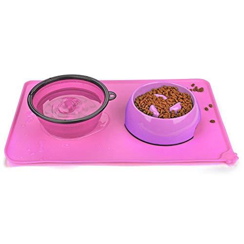 URWOOW Silicone Waterproof Dog Cat Pet Food Feeding Mats Tray Non Stick Feed Pad Non Slip Pet Dog Cat Bowl Mats