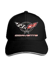 XIA WUEY Unisex Adjustable Sandwich Baseball Cap Images of Corvette Logo Solid Colors Hat Black