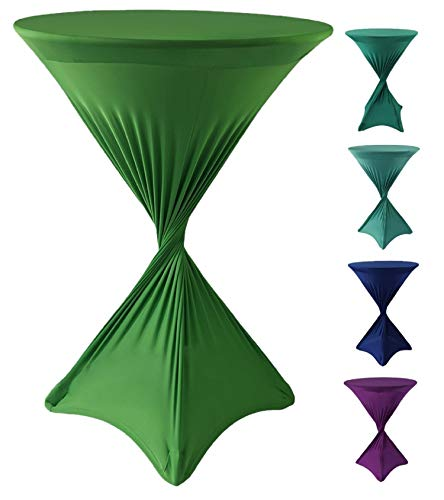 CoolZest Cocktail Table Covers, High Top Table Tablecloth, Spandex Table Covers for Cocktail Tables Bar Height, 30-Inch Fitted Tablecloths for Round Tables (Jade Green) (Wedding Jade)