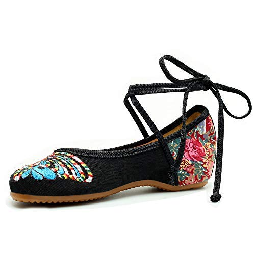 CINAK Embroidered Chinese Style Loafers Shoes Butterfly Embroidery Ballet Round Toe Black Flats
