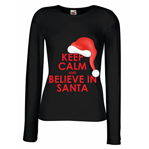 T Shirt Women Keep Calm and Believe In Santa, Holiday Clothes and Christmas Outfits (Medium Black Multi (Find Spirit Halloween Store)