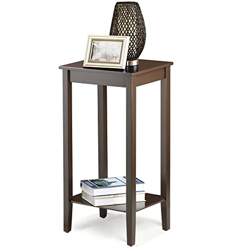 Yaheetech Morden Tall Wood Sofe Side Coffee End Tables Espresso Bedside  Nightstand (Brown)