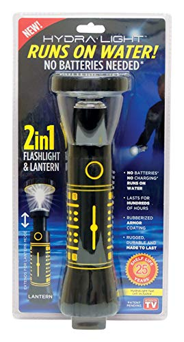 Hydralight 2-in-1 Flashlight and Lantern, No Batteries Needed, Runs on Water | Camping, Hiking, Emergency, Hurricane, Power Outage, Outdoor and More
