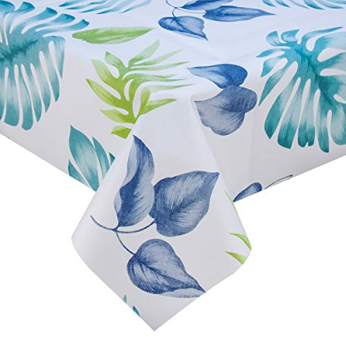 Heavy Duty Vinyl Oilcloth Tablecloth PVC Waterproof Plastic Wipeable Spillproof Peva Tablecloth for Spring Outdoor Camping Picnic Rectangle/Oblong 54x108 Inch Tropical Leaf ()