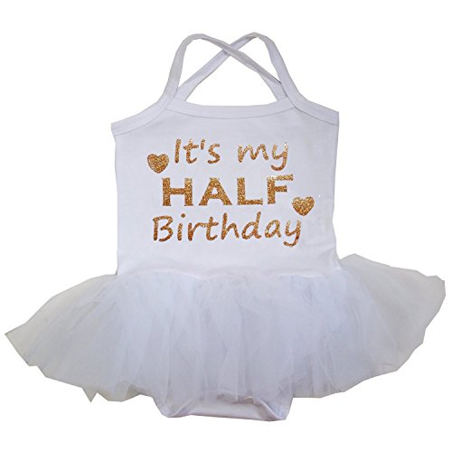 Kirei Sui Baby Gold Sparkle Half Birthday White Tulle Tutu Bodysuit Dress Medium White