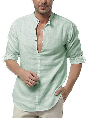 - Karlywindow Mens Long Sleeve Henley Shirt Cotton Linen Beach Yoga Loose Fit Henleys Tops (Medium, Y-Green)
