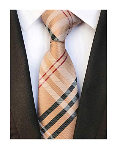 Men's Brown Red Black Woven Casual Preppy Stylish Tie Necktie Presents Gift Idea (Tie Bar Burberry)