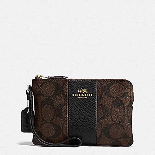 Coach F58035 Corner Zip Wristlet in Signature Coated Canvas Brown Black (Bags Coach Authentic)