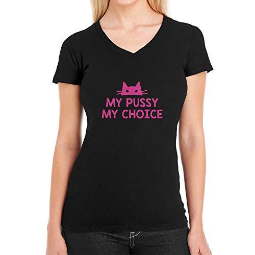 A Pussy Maglietta Shirtgeil Simbolo Choiche Scollo Donna Nero V Femminismo My wfp8Z7q