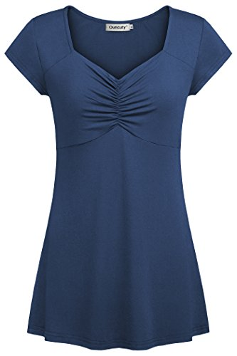 - Ouncuty Plus Size Blouses, Tunics for Women to Wear with Leggings Ladies Summer XXL Tunic Top Royal Blue Cap Sleeve Casual Ruched Front Tunic T Shirts Juniors Soft Pleated Short Sleeve Blouses Shirts