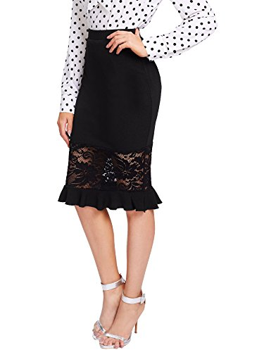 WDIRARA Women's Elegant Mid Waist Above Knee Lace and Ruffle Hem Pencil Skirt Black L