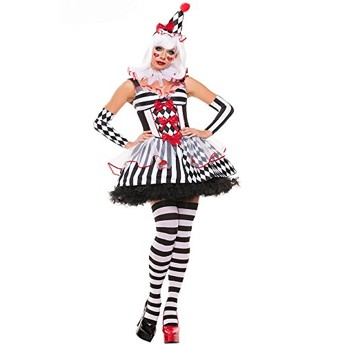 [ZNFQC Women's Circus Clown Halloween Costume Joker Role Playing Party (White)] (Le Belle Harlequin Adult Costumes)