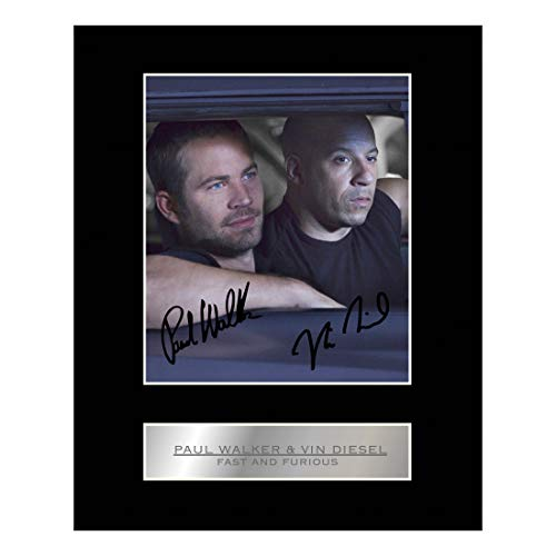 Walker Signed Photo - iconic pics Paul Walker and Vin Diesel Signed Mounted Photo Display Fast and Furious