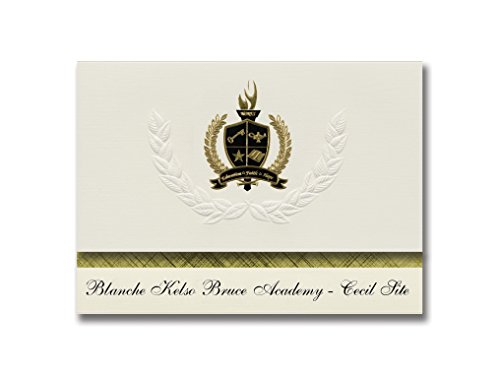 Signature Announcements Blanche Kelso Bruce Academy - Cecil Site (Detroit, MI) Graduation Announcements, Pack of 25 with Gold & Black, 6.25