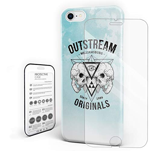 Compatible with iPhone 7 Case and iPhone 8 Case, Hard PC Back Phone Case with Tempered Glass Screen Protector Out Stream Williamsburg Skull Shockproof Protective -