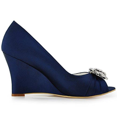 Elegantpark WP1547 Mujer Fiesta Cuña AF01 Desmontable Flores Rhinestone Zapatos Clips Satén Zapatos De Boda Azul Marino