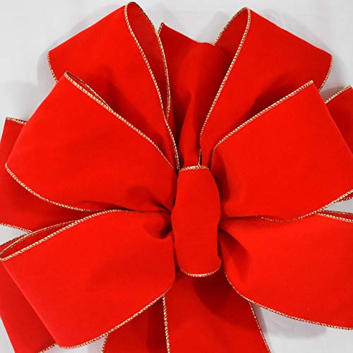 (Big Christmas Bows 2 Pack ($24.99 EA) FREE SHIPPING Super Size Red Velvet Gold Wire Edge Bows 15