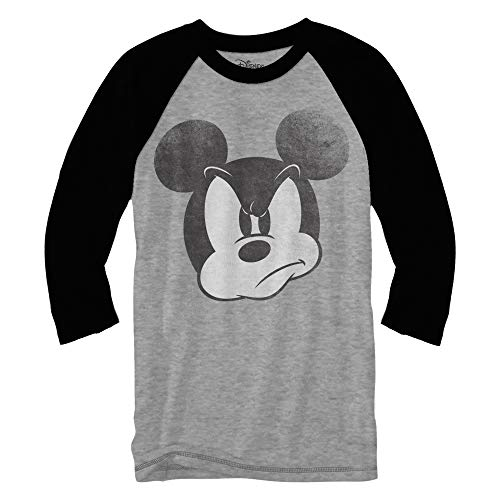 Orlando Studios Halloween (Mad Mickey Mouse Raglan Style 3/4 Length Sleeve Classic Vintage Disneyland Funny Adult Mens Graphic Shirt (Heather Grey,)