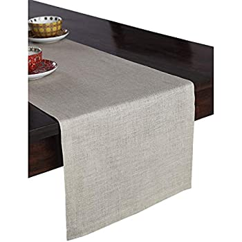 Solino Home 100% Pure Linen Table Runner - 14 x 108 Inch Athena, Handcrafted from European Flax, Natural Fabric Runner - Natural