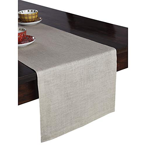 Solino Home 100% Pure Linen Table Runner - 14 x 48 Inch Athena, Handcrafted from European Flax, Natural Fabric Runner - Natural (Tabel Runner)