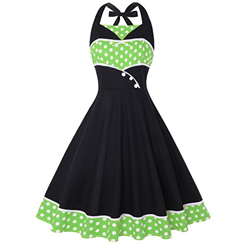Wellwits Women's Polka Dots Halter 1950s Vintage Pin up Sailor Dress Green -