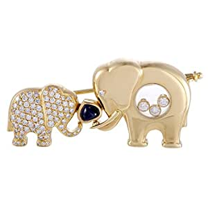 Chopard Happy Diamonds 18K Yellow Gold Diamond and Sapphire Elephants Brooch