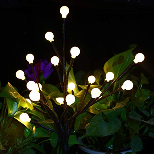 Gotian LED Solar Power Tree Light Garden Outdoor Lawn Waterproof Solar Tree Light Solar Battery Landscape Lamp Beautiful Artificial Flower Outdoor Lights for Decorate Garden Balcony Lawn (Yellow)