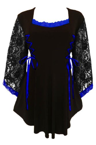 Dare to Wear Victorian Gothic Boho Women's Plus Size Anastasia Corset Top Black/Royal 2x