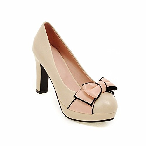 Bow tie, high-heeled shoes, round heel, waterproof table, women's shoes,Beige,42-YU&XIN by YU&XIN-Spring and Autumn Women's Shoes