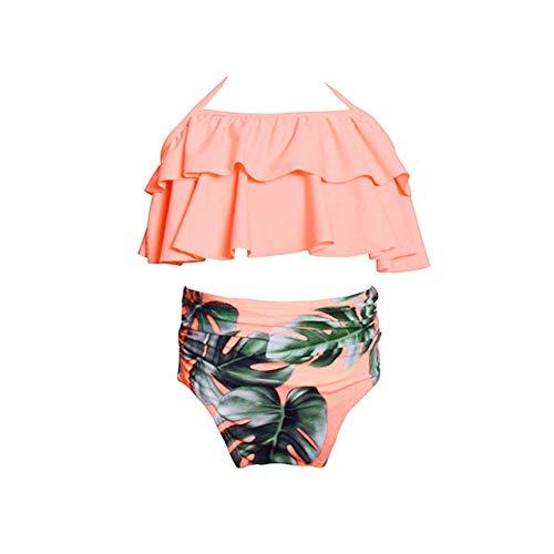 WEUIE Little Girls Swimsuit Falbala High Waisted Bikini Set Halter Neck Swimwear Tropical Plants Print Bathing Suits Pink ()