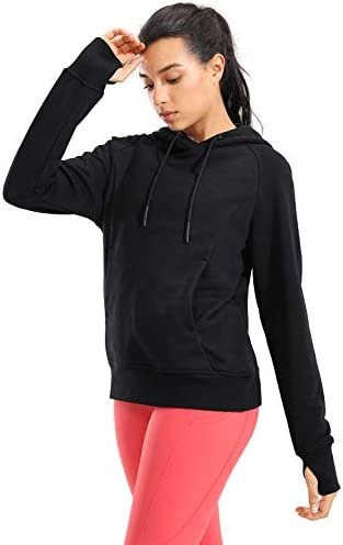 CRZ YOGA Women's Cotton Hoodies Pullover Hooded Sweatshirt Kangaroo Pocket Long Sleeve Workout Top Thumb Holes