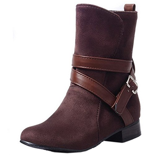 Pull on Mujer Zanpa Botas Brown Bajo Casual Botines Tacon XS6WwTgpq