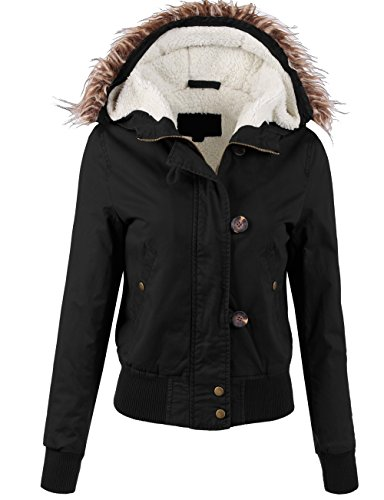 (KOOLDO Womens Sherpa Faux Fur Lined Fur Detail Hooded Anorak Bomber Jacket-S-Black)