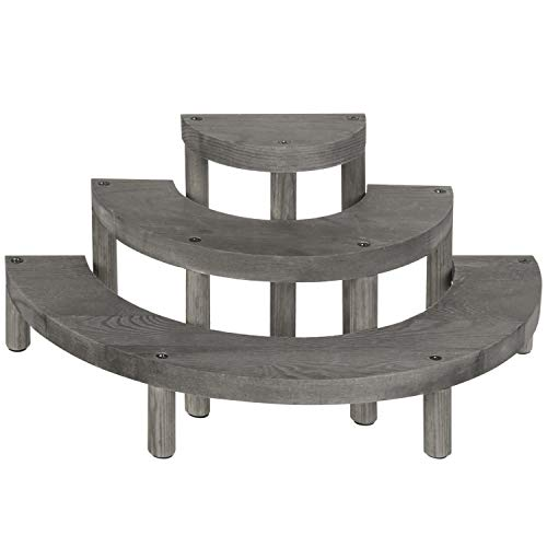 MyGift 3-Tier Vintage Gray Wood Semicircle Cupcake Display Stand