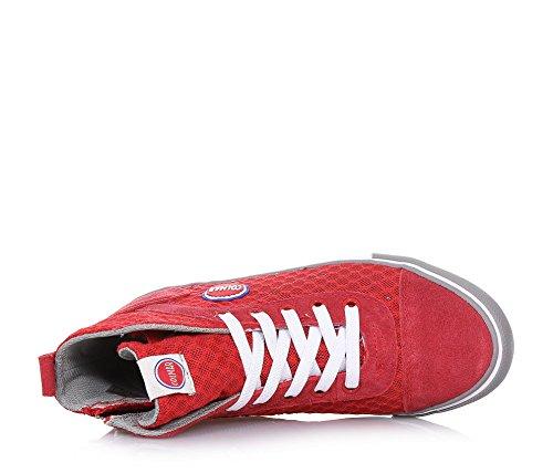 COLMAR - Roter Sneaker mit Schnürsenkeln, aus Stoff und Wildleder, seitlich ein Reißverschluss, auf der Zunge ein Logo, Jungen