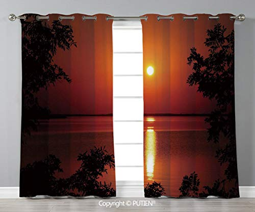 Grommet Blackout Window Curtains Drapes [ Nature,Sunset Horizon Skyline Reflection on the Sea Rural Fresh Dramatic View,Red Scarlet Vermilion ] for Living Room Bedroom Dorm Room Classroom Kitchen Cafe