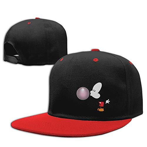 Sakanpo Balloon Mickey Mouse Flat Visor Baseball Cap, Designed Snapback Hat Red -