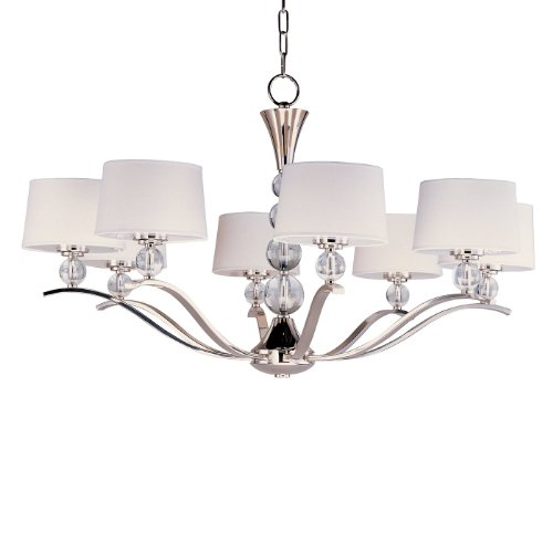 Maxim Lighting 12758WTPN Rondo 8-Light Chandelier, Polished Nickel Finish with White Fabric Shades