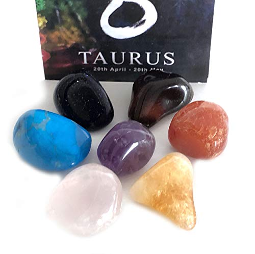 Astral-Stones Taurus Zodiac Sign 7 Chakra Stone Set Gemstone Chakra Kit Set of 7 Stones