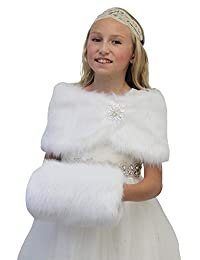 BKSKK Winter Warm Faux Fur Hand Muffs for Flower Girls