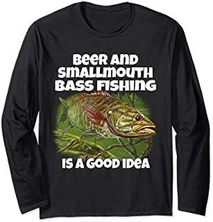 ⭐️⭐️⭐️ Fishing  Beer & Smallmouth Bass Fishing A Good Idea Need Funny Tee Shirt Need Funny Short/Long Sleeve Shirt/Hoodie