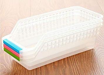 Edited Cocina Frigorífico plástico almacenar Cesto Multiusos de presupuesto Caja de almacenaje Cestas con Asas para Cocina Fruta Verduras: Amazon.es: Hogar